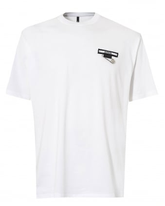 Mens Safety Pin T Shirt, Short Sleeve White Patch Tee