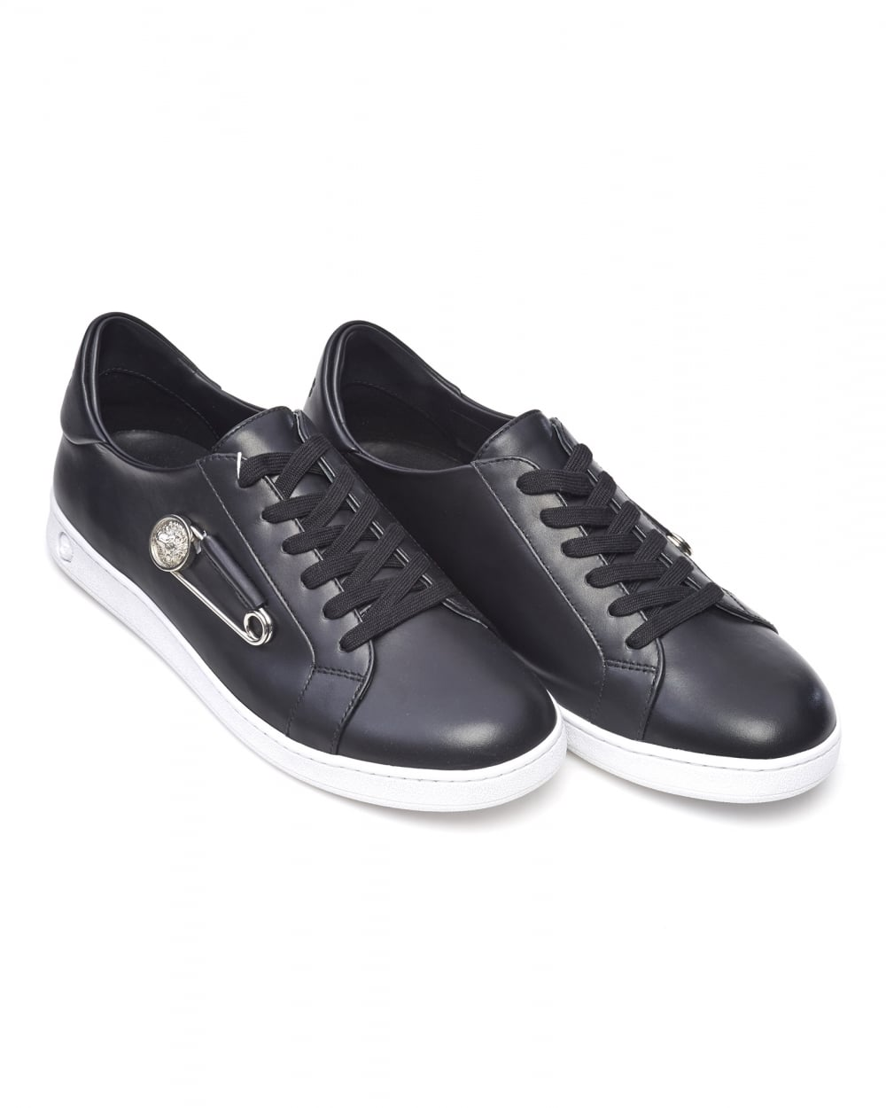 versace versus mens safety pin trainers black low top. Black Bedroom Furniture Sets. Home Design Ideas