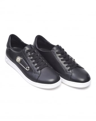 Mens Safety Pin Trainers, Black Low Top Lace Up Sneakers