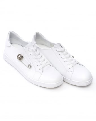 Mens Safety Pin Trainers, White Low Top Lace Up Sneakers