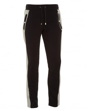 Mens Side Stripe Black and Grey Trackpants