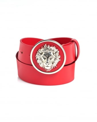 Mens Silver Lion Head Red Leather Belt