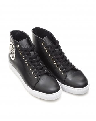 Mens Silver Lion Trainers, High Top Black Sneakers