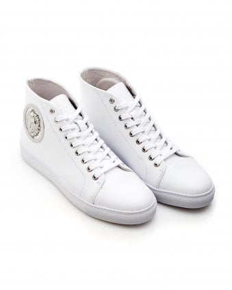Mens Silver Lion Trainers, High Top White Sneakers