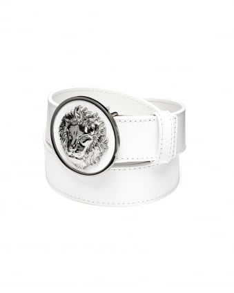 Mens Silver Lions Head White Leather Belt