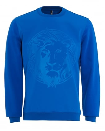 Mens Sweatshirt, Lapis Blue Lion Graphic Jumper