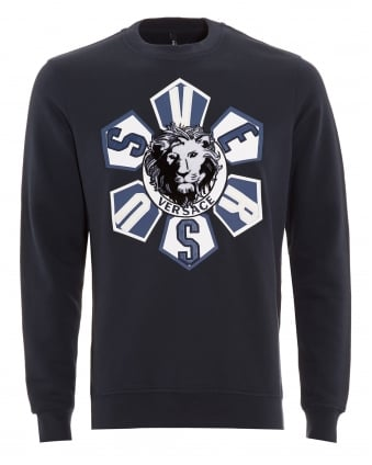 Mens Sweatshirt, Lion Head Applique Navy Blue Jumper