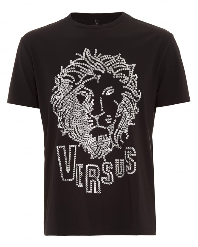Versus Versace Mens T-Shirt, Eyelet Lion Head Black Tee