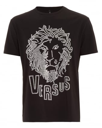 Mens T-Shirt, Eyelet Lion Head Black Tee