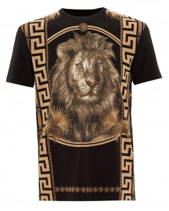 Mens T-Shirt, Greco Tiling Lion Black Tee