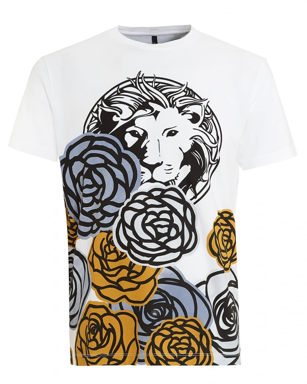 versace versus mens t shirt lion floral white tee. Black Bedroom Furniture Sets. Home Design Ideas