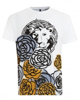 Mens T-Shirt, Lion Floral White Tee