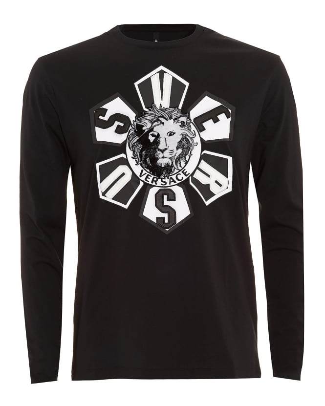 Versus Versace Mens T-Shirt, Lion Head Applique Long Sleeve Black Tee