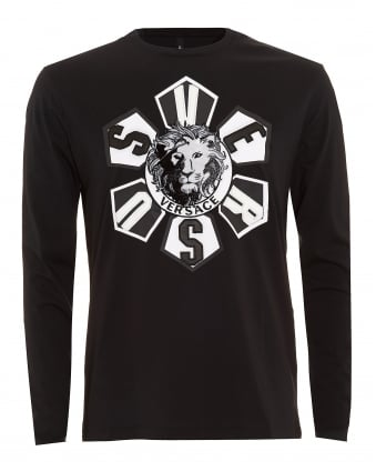 Mens T-Shirt, Lion Head Applique Long Sleeve Black Tee