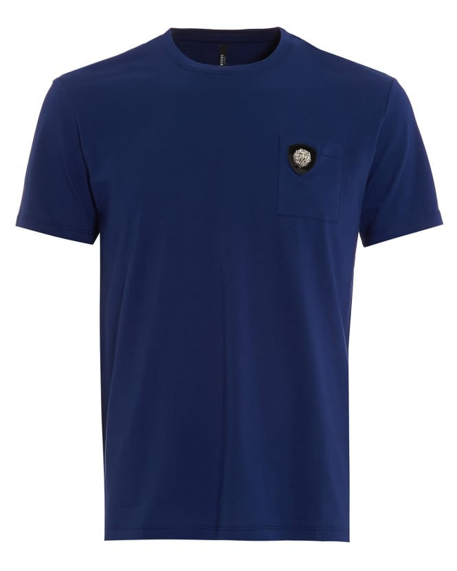 Versus versace mens t shirt lion head chest pocket berry for Blue and white versace shirt