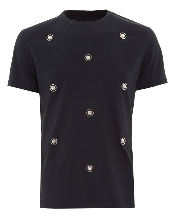 Versus Versace Mens T-Shirt, Lion Studded Navy Blue Slim Fit Tee