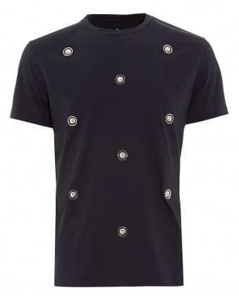 Mens T-Shirt, Lion Studded Navy Blue Slim Fit Tee