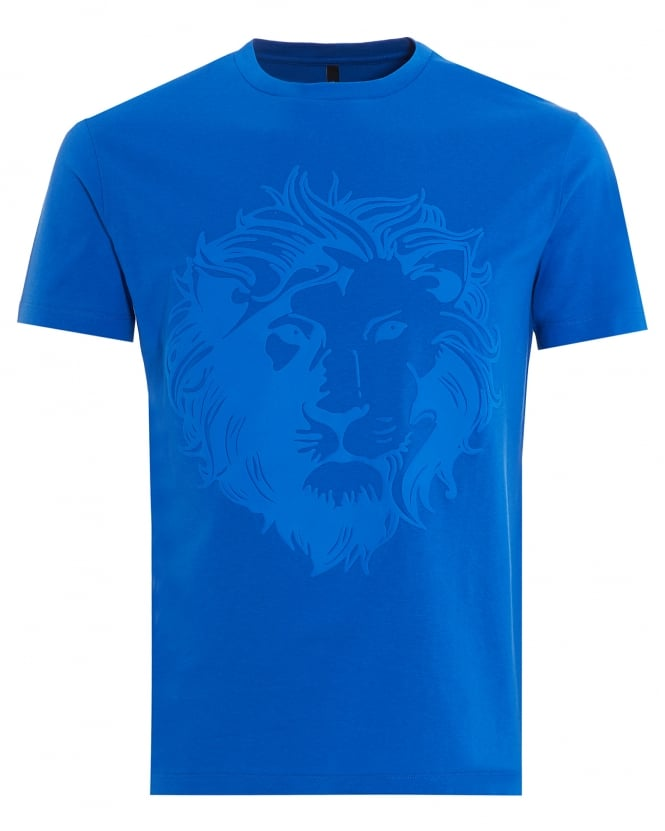 Versus versace mens t shirt rubberised lion head white tee for Blue and white versace shirt
