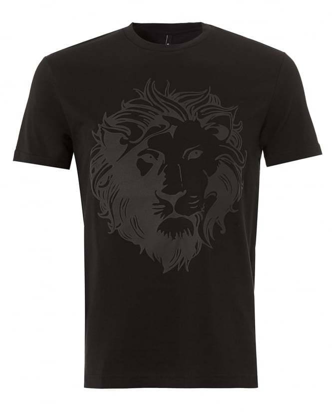 Versus Versace Mens Tonal Lion T-Shirt, Stretch Cotton Black Tee