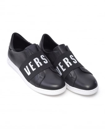 Mens Trainers, Black Logo Band Slip On Sneakers