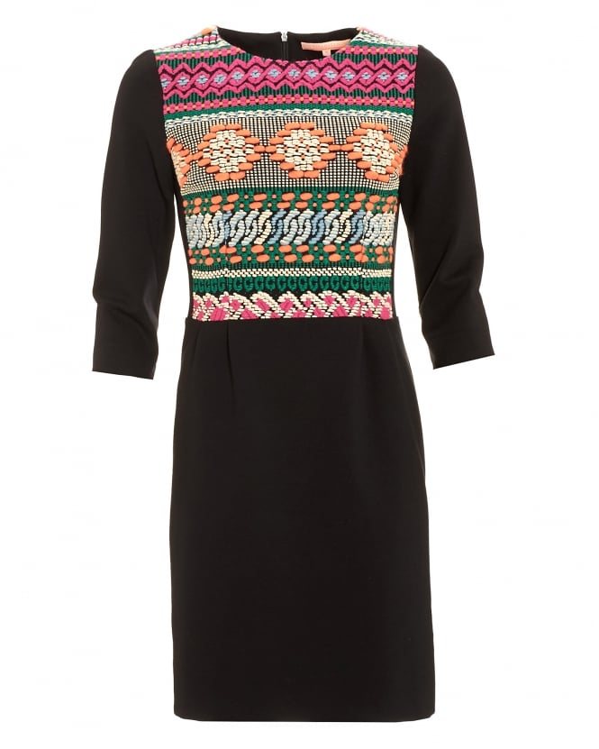 Vilagallo Womens Adele Black Embroidered Navajo Dress