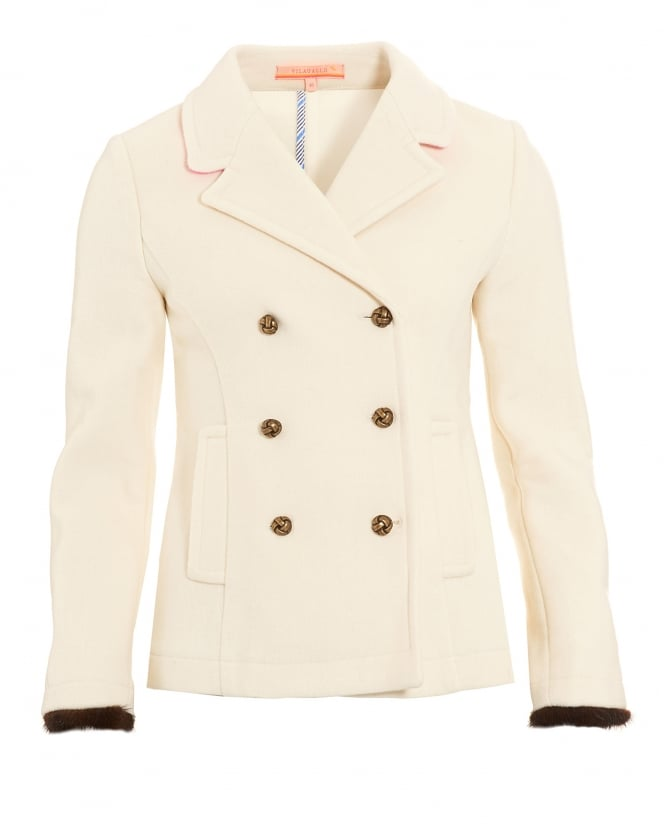 Vilagallo Womens Amelie Blazer, Cream Double Breasted Fur Cuff Jacket