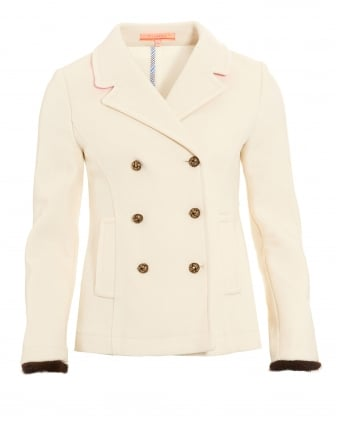 Womens Amelie Blazer, Cream Double Breasted Fur Cuff Jacket