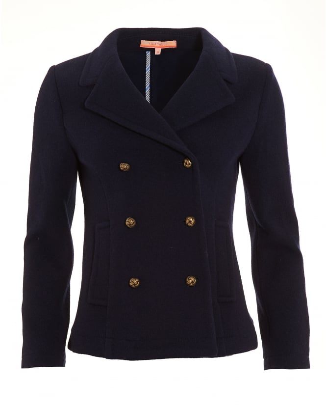 Vilagallo Womens Amelie Coat, Milan Navy Blue Double Breasted Jacket