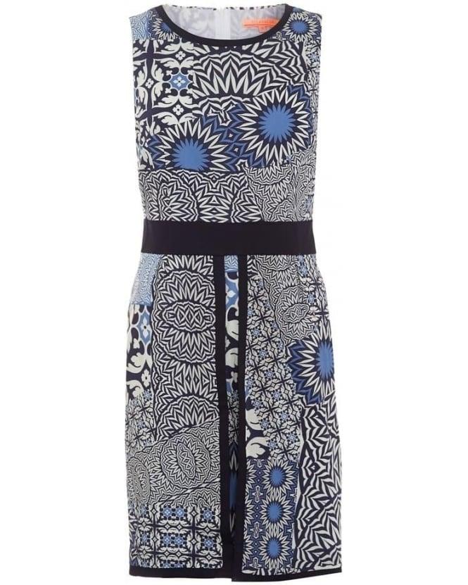 Vilagallo Womens Beatriz Dress, Cremona Print Blue Panel Dress