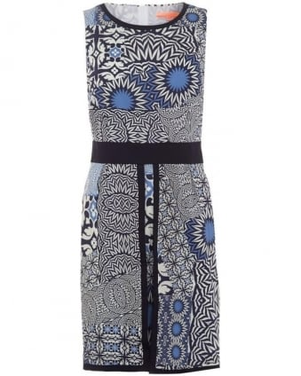 Womens Beatriz Dress, Cremona Print Blue Panel Dress
