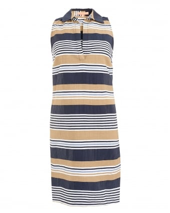 Womens Cassie Stripe Navy Sand Capri Camel Dress