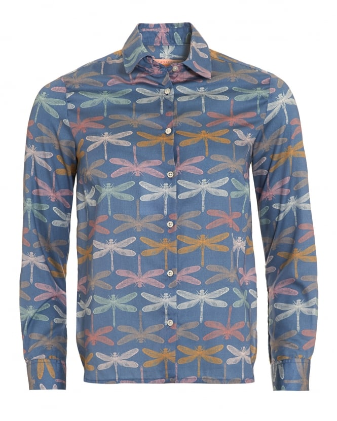 Vilagallo Womens Dover Blue Dragonfly Print Silk Shirt