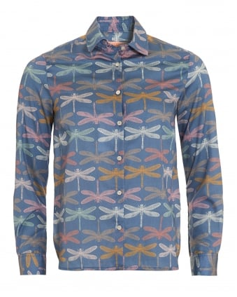 Womens Dover Blue Dragonfly Print Silk Shirt
