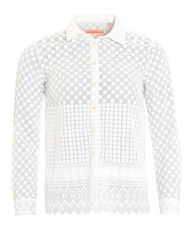 Vilagallo Womens Dover White Embroidered Shirt