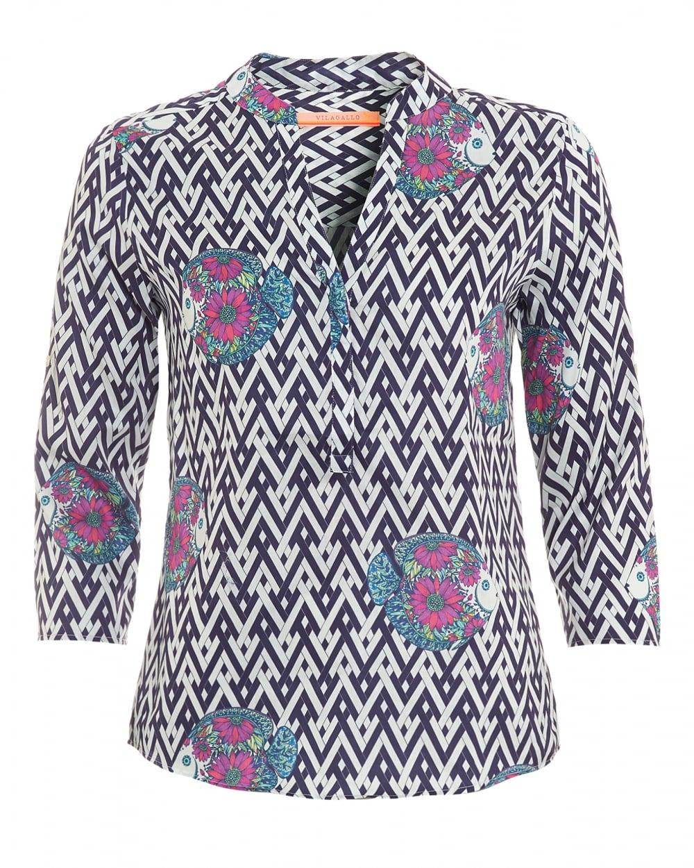 Fantastic Womens Chevron Blouse / Tunic Blue U0026 White Striped Top Color