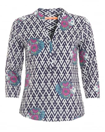 Womens Emily Shirt, Chevron Fish Print Blouse