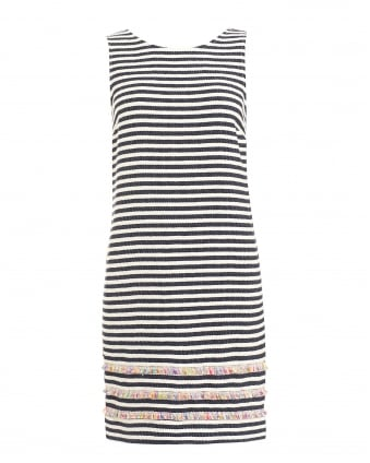 Womens Federica Striped Blue Cream Dress