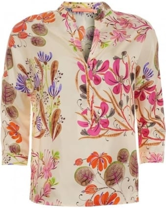 Womens Flava Shirt, Floral Beige V-Neck Blouse