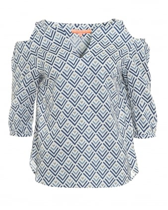 Womens Maida Chevron Print Blue Top