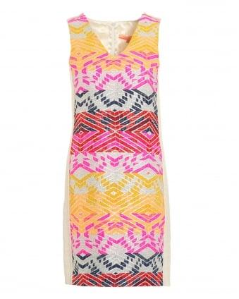 Womens Mia Aztec Print Pink Yellow Dress