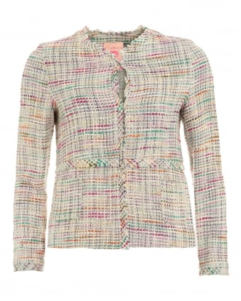 Womens Miranda Coat, Multicoloured Tweed Frayed Jacket