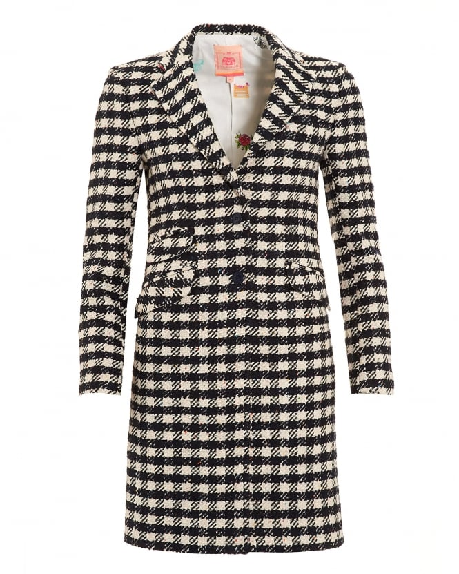 Vilagallo Womens Navy Crean Houndstooth Boston Coat