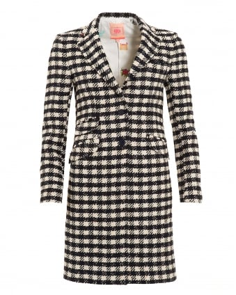 Womens Navy Crean Houndstooth Boston Coat