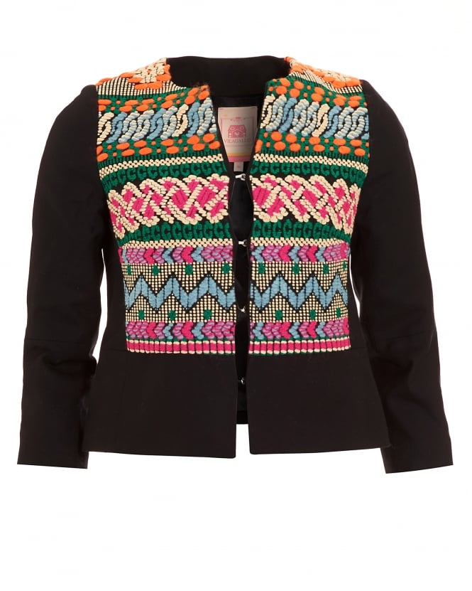 Vilagallo Womens Nora Black Embroidered Navajo Jacket