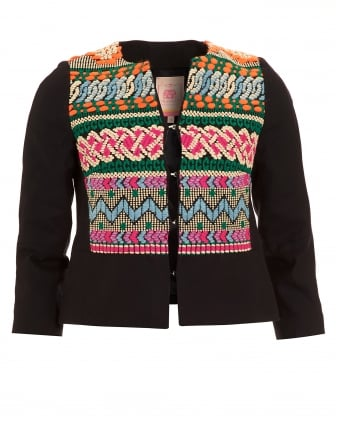 Womens Nora Black Embroidered Navajo Jacket