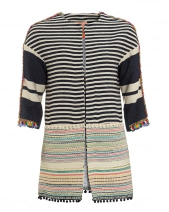 Womens Sarah Navy Blue Cream Striped Coat