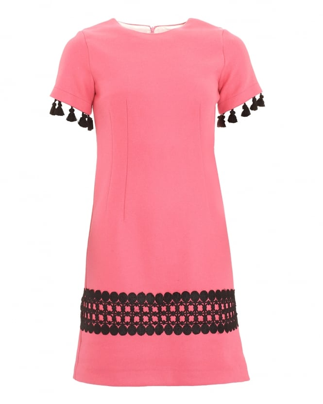 Vilagallo Womens Valentina Coral Pink Tassel Dress