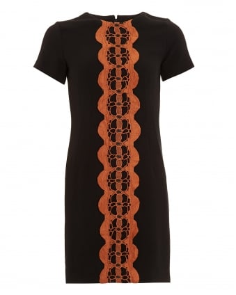 Womens Valentina Orange Lace Trim Black Shift Dress