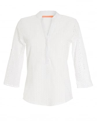Womens White V-Neck Broderie Shirt