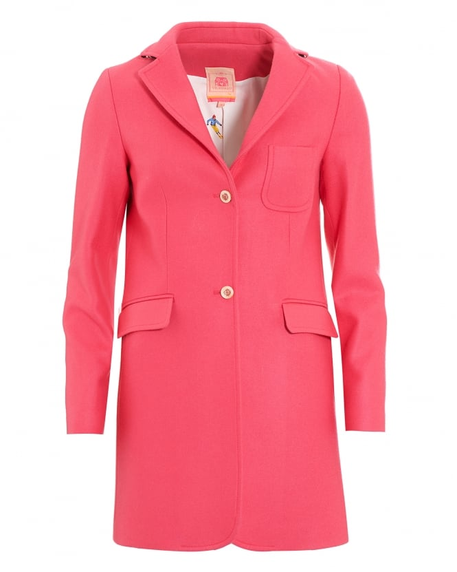 Vilagallo Womens Wool Blend Pink Oxford Coat